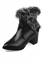 Femme Chaussures Similicuir Automne Hiver Confort Nouveauté Botillons Bottes Gros Talon Bout pointu Bottine/Demi Botte Points Polka Pour