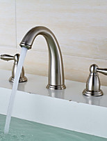 Widespread Widespread with  Brass Valve Two Handles Three Holes for  Nickel Brushed , Bathroom Sink Faucet