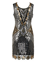 Latin Dance Dresses Women's Performance Polyester Sequined Paillette 1 Piece Sleeveless High Dress