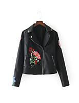 Women's Going out Casual/Daily Simple Street chic Chinoiserie Spring Fall Leather Jacket,Solid Notch Lapel Long Sleeve Regular Cotton