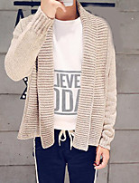 Men's Casual/Daily Regular Cardigan,Solid Round Neck Long Sleeves Others Spring Winter Medium Micro-elastic