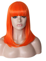 Women Synthetic Wig Capless Medium Straight Natural Wave Green Blue Orange For Black Women Natural Hairline Bob Haircut With Bangs Lolita