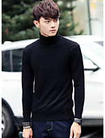 Men's Casual/Daily Simple Regular Pullover,Solid Turtleneck Long Sleeves Others Spring Winter Medium Micro-elastic