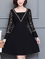 Women's Going out Plus Size Street chic Lace Dress,Solid V Neck Knee-length Long Sleeves Polyester Fall Mid Rise Inelastic Medium