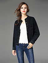Maxlindy Women's Holiday Going out Casual/Daily Simple Vintage Street chic Fall Winter Denim JacketSolid Stand Long Sleeve Regular Cotton