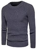 Men's Going out Casual/Daily Simple Cute Street chic Regular Pullover,Solid Round Neck Long Sleeves Cotton Polyester Spring Fall Medium