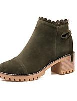 Feminino Sapatos Pele Nobuck Courino Outono Inverno Botas da Moda Coturnos Botas Salto Grosso Ponta Redonda Botas Curtas / Ankle Laço
