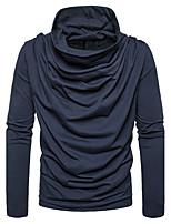 Standard Pullover Da uomo-Per uscire Casual Semplice Tinta unita A cappuccio Manica lunga Cotone Autunno Inverno Medio spessore