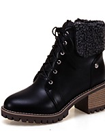 Women's Shoes PU Fall Winter Comfort Boots Chunky Heel Round Toe Lace-up For Outdoor Office & Career Beige Black White