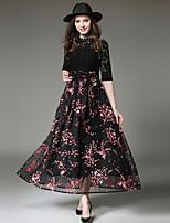 Damen A-Linie Hülle Swing Kleid-Ausgehen Lässig/Alltäglich Einfach Street Schick Anspruchsvoll Blumen Asymmetrisch Midi Halbe Ärmel