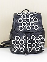 Women Bags All Seasons Cowhide Backpack with Flower(s) for Casual Office & Career Black/White