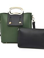 Women Bags All Seasons PU Bag Set 2 Pcs Purse Set Zipper for Casual Black Red Gray Dark Green Brown