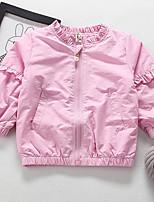 Девочки Куртка / пальто Хлопок Цветочный принт Вышивка Весна Осень Длинный рукав