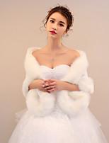 Women's Wrap Shrugs Faux Fur Wedding Party/ Evening Ruching Flower