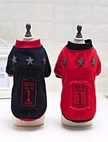 Cane Cappottini Abbigliamento per cani Tenere al caldo Lettere & Numeri Nero Rosso