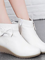 Women's Shoes PU Winter Comfort Boots Wedge Heel Round Toe For Casual White