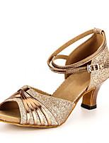 Women's Latin Paillette Leatherette Heel Practice Cuban Heel Gold Customizable