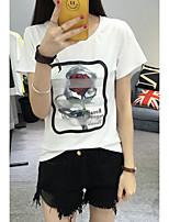 Damen Blumen Street Schick Ausgehen T-shirt,Rundhalsausschnitt Sommer Kurzarm Baumwolle Dünn