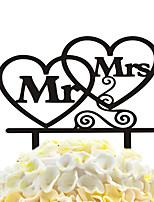 inserções de bolo de acrílico dois ornamentos de decoração de bolo do coração