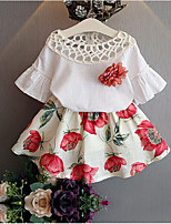 Girls' Floral Sets,Cotton Bamboo Fiber Summer Half Sleeves Clothing Set