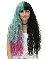 Donna Parrucche sintetiche Senza tappo Lungo Onda effetto mare Nero / Rosa / verde Parrucca di Halloween costumi parrucche