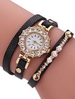 Damen Modeuhr Armband-Uhr Simulierter Diamant Uhr Chinesisch Quartz Imitation Diamant PU Band Perlen Bequem Elegante Schwarz Weiß Blau