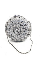 Women Bags Spring Fall Metal Evening Bag Crystal Detailing for Event/Party Gold Silver