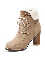 Femme Chaussures Cuir Nubuck Automne Hiver Confort Nouveauté Botillons Bottes Gros Talon Bout pointu Lacet Pour Habillé Noir Marron Amande