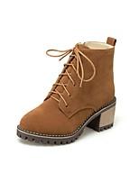 Feminino Sapatos Pele Nobuck Outono Inverno Conforto Botas Salto Grosso Ponta Redonda Cadarço Para Preto Bege Marron