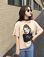 Women's Casual/Daily Simple Summer T-shirt,Solid Print Round Neck Short Sleeves Cotton