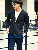 Men's Beach Regular Cardigan,Solid V Neck Long Sleeves Others Spring Fall Medium Micro-elastic