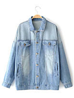 Women's Going out Casual/Daily Simple Spring Fall Denim Jacket,Solid Print Shirt Collar Long Sleeve Regular Cotton Others