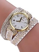 Damen Modeuhr Armband-Uhr Simulierter Diamant Uhr Chinesisch Quartz Imitation Diamant PU Band Bequem Elegante Schwarz Weiß Blau Rot Braun