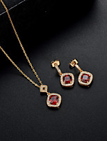 Women's Drop Earrings Pendant Necklaces Synthetic Amethyst Synthetic Ruby AAA Cubic Zirconia Classic Elegant Cubic Zirconia Square