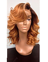 Donna Parrucche di capelli umani con retina Brasiliano Cappelli veri Lace integrale 130% Densità Taglio scalato Con ciuffetti Ondulati