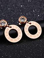 Women's Drop Earrings AAA Cubic Zirconia Classic Elegant Cubic Zirconia Titanium Steel Circle Jewelry For Wedding Evening Party