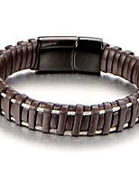 Men's Boys' Cuff Bracelet Bracelet Jewelry Fashion Personalized Leather Titanium Steel Geometric Jewelry For Daily Work