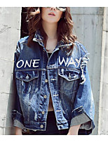 Women's Casual/Daily Street chic Spring Denim Jacket,Letter Shirt Collar ¾ Sleeve Regular Cotton