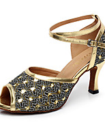 Women's Latin PU Tulle Heel Indoor Buckle Splicing Silver Gold Customizable