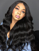 Women Human Hair Lace Wig Malaysian Human Hair Glueless Full Lace 150% Density With Baby Hair Body Wave Wig Black Long Natural Hairline