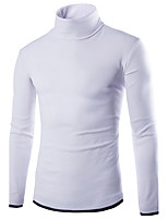 Men's Casual/Daily Simple Regular Pullover,Color Block Turtleneck Long Sleeves Polyester Fall Medium Micro-elastic