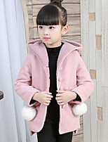 Girls' Patchwork Jacket & Coat,Polyester Fall Winter Long Sleeve
