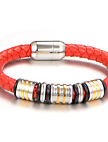 Homme Garçon Manchettes Bracelets Bracelet Bijoux Mode Vintage Cuir Acier au titane Forme Géométrique Bijoux Pour Quotidien Travail