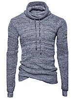 Men's Casual/Daily Simple Regular Pullover,Solid Cowl Neck Long Sleeves Cotton Fall Winter Thick Stretchy