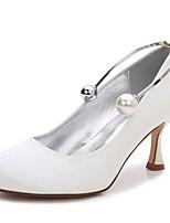 Femme Chaussures Satin Printemps Eté Confort Escarpin Basique Chaussures de mariage Talon Bas Kitten Heel Talon Aiguille Bout rond Perle