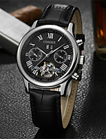 Men's Mechanical Watch Automatic self-winding Water Resistant / Water Proof Genuine Leather Band Black Brown