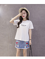 Women's Going out Casual/Daily Cute T-shirt,Solid Letter Round Neck Short Sleeves Cotton