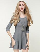 Linea A Swing Lavorato a mano Vestito Da donna-Per uscire Casual Semplice Moda città Sofisticato Tinta unita Rotonda Sopra il ginocchio