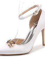 Femme Chaussures Soie Printemps Automne Escarpin Basique Bride de Cheville Chaussures de mariage Talon Aiguille Bout pointu Strass