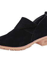 Women's Shoes Cashmere Spring Fall Combat Boots Boots Low Heel Round Toe For Casual Brown Gray Black